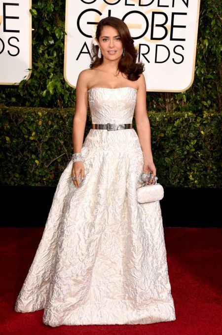 Salma Hayek Pinault in a pretty Alexander McQueen gown at the Golden Globes 2015