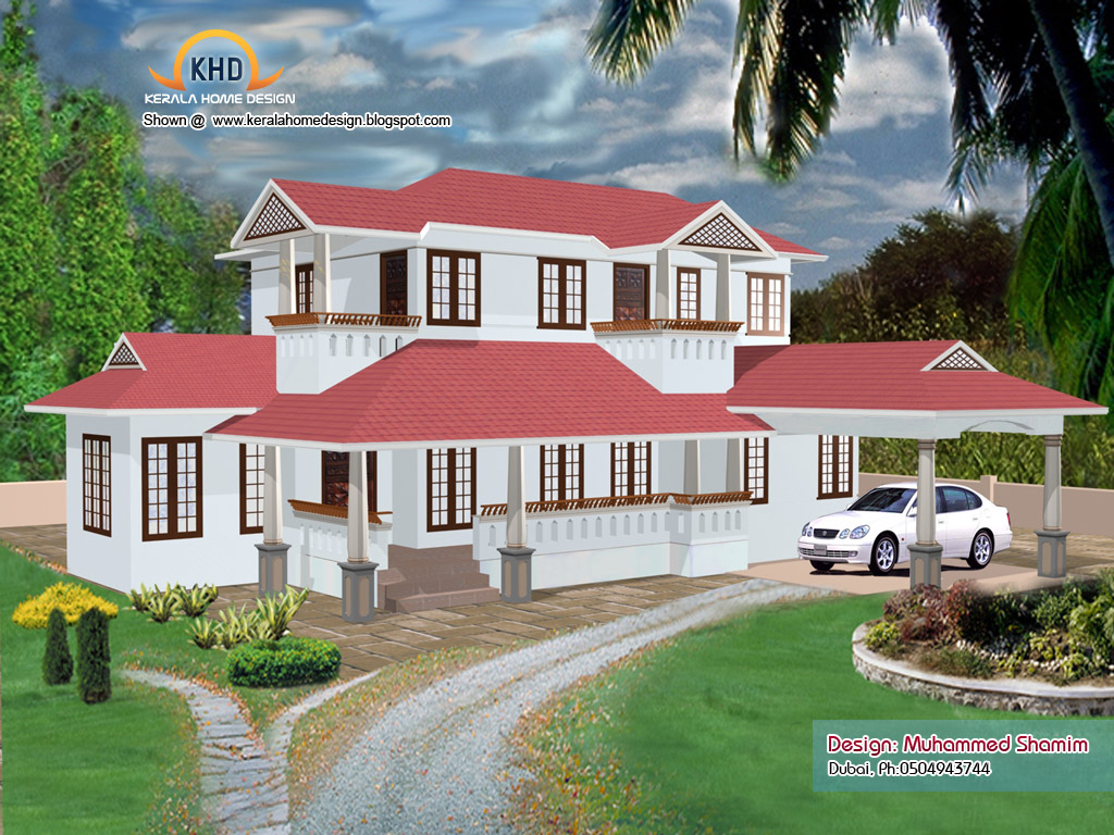 Kerala home design and floor plans 5 beautiful home elevation designs in 3d - Kerala beautiful house ...
