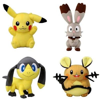 Pokemon Plush Dedenne Bunnelby Helioptile Pikachu Tomy