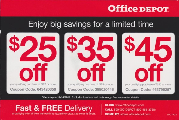9. Office Depot promo codes are entered on the shopping cart page for online orders. The total instantly updates with the discount after application. Individual locations may set their own teacher discount, so you'll have to call ahead to find out for each store. However, the .