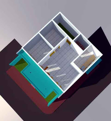 Denah 3D Desain Rumah Minimalis Type 21/60 Sudut