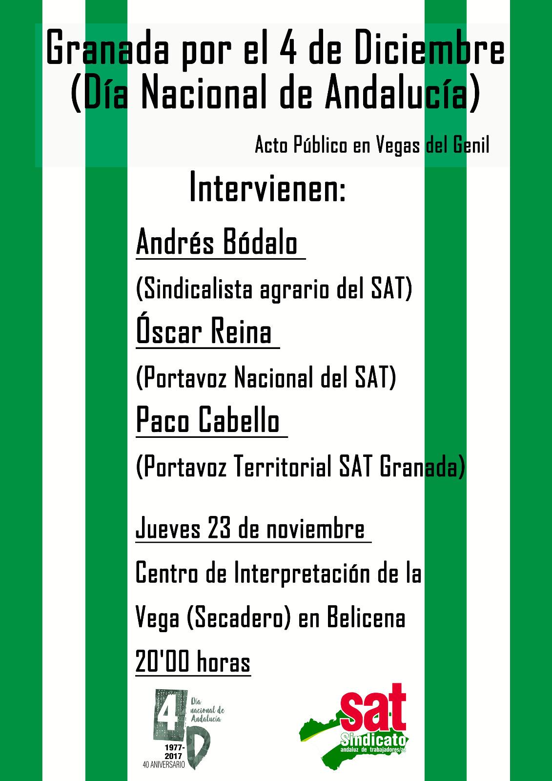 ACTO PÚBLICO EN VEGAS DEL GENIL: Granada por el 4 de Diciembre.  MANIFESTACIÓN 3D EN MÁLAGA.