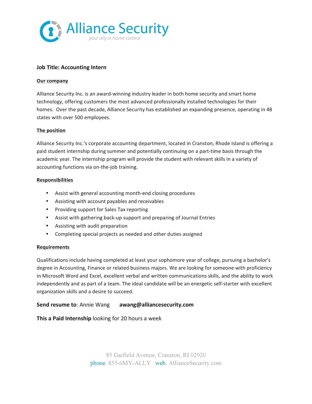 URI CBA Internship/Job Information: Alliance Security - Accounting ...