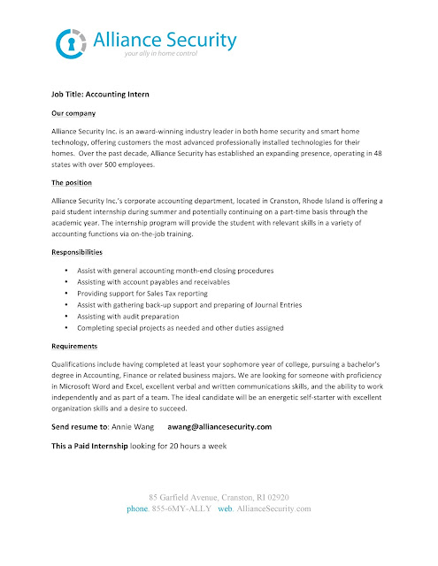 Uri Cba InternshipJob Information Alliance Security  Accounting
