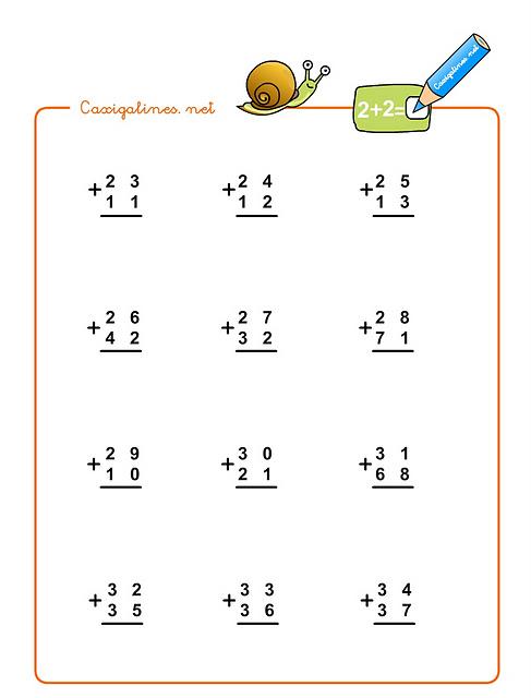 con sumas de números de dos cifras para alumnos de primer ciclo de