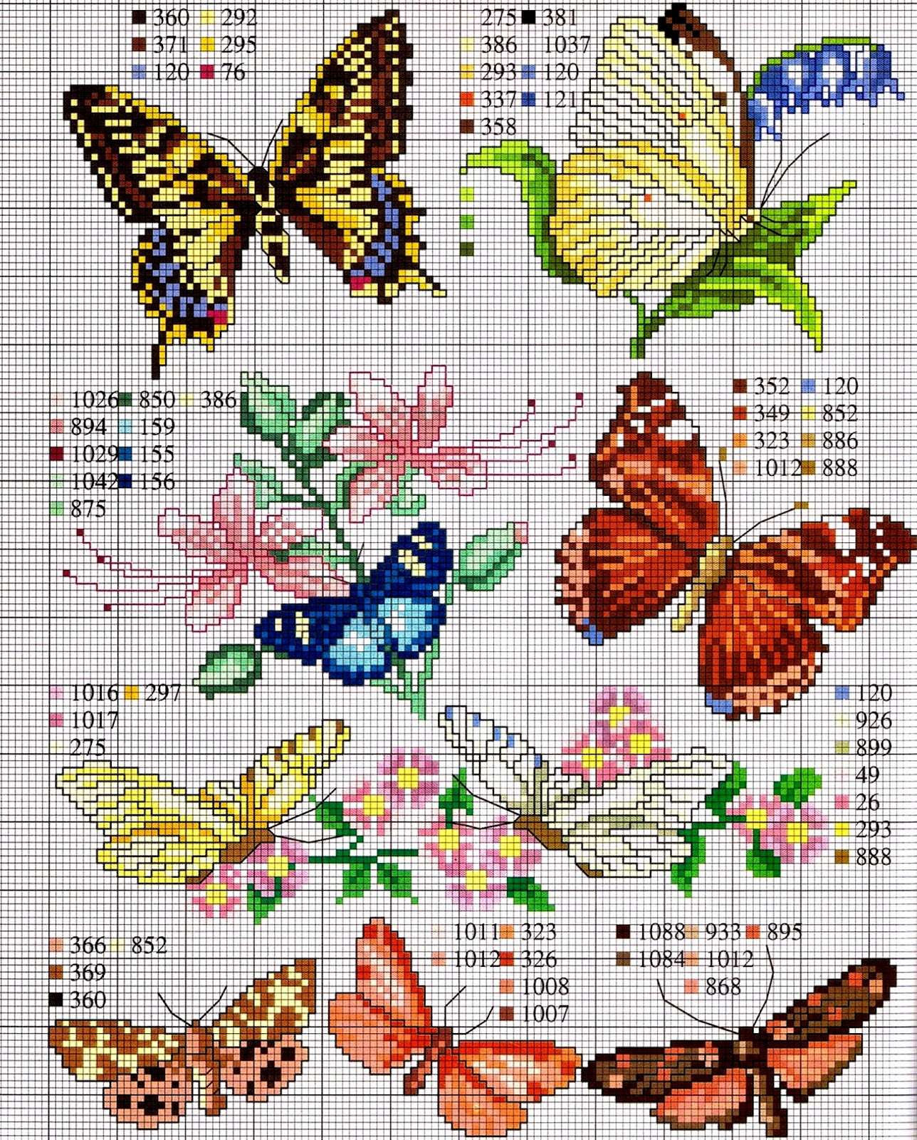 tante farfalle da ricamare a punto croce