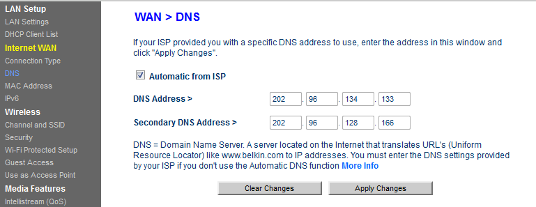 I cannot change DNS value on Belkin router