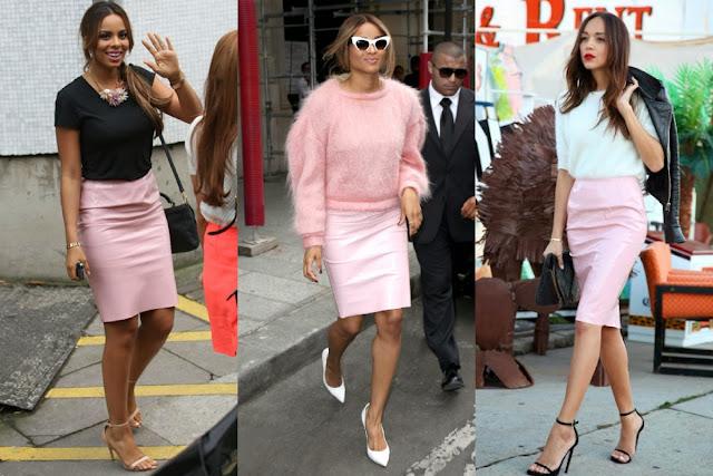 trend PVC midi skirt, pale baby pink pvc skirt, pastel pvc skirt, beige and camel pvc skirt, red and black pvc skirt, purple and baby blue pvc skirt, trends spring 2014