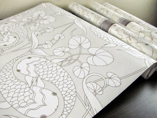 Judit Gueth Koi Silver Wallpaper now in panels