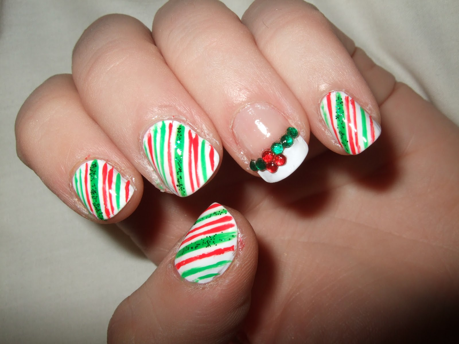 With Candy Cane Nails