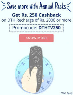 paytm rs250 cashback on rs2000 dth recharge
