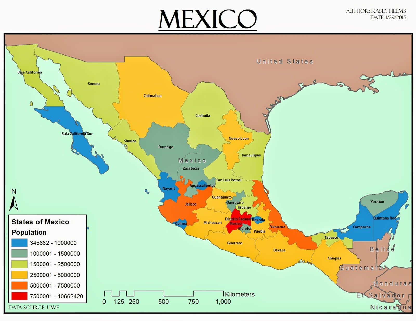 Kaseys Gis Adventure Gis Cartography Lab Week 3 - Create-us-map-color-coded