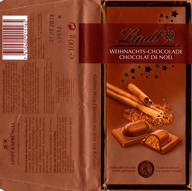 tablette de chocolat lait fourré lindt chocolat de noël