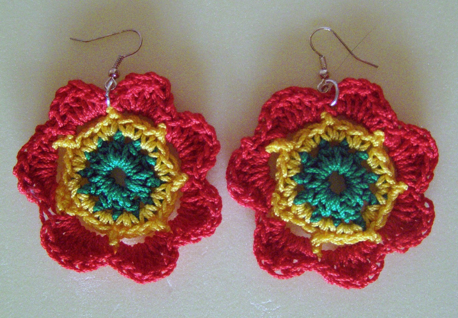 Dont worry be crafty my handmade works reggae crocheted flower earrings ccuart Gallery