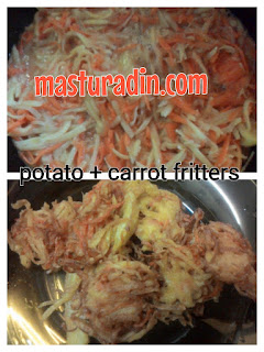 resepi potato fritters, carrot fritters, resepi mudah, minum petang