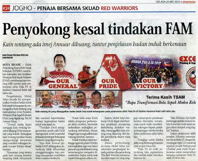 Penyokong kesal tindakan FAM