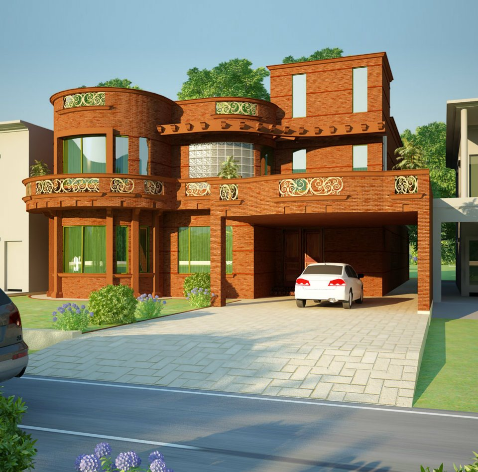... Marla 1 Kanal Plot 3D front Elevation Of House in Lahore Pakistan 2