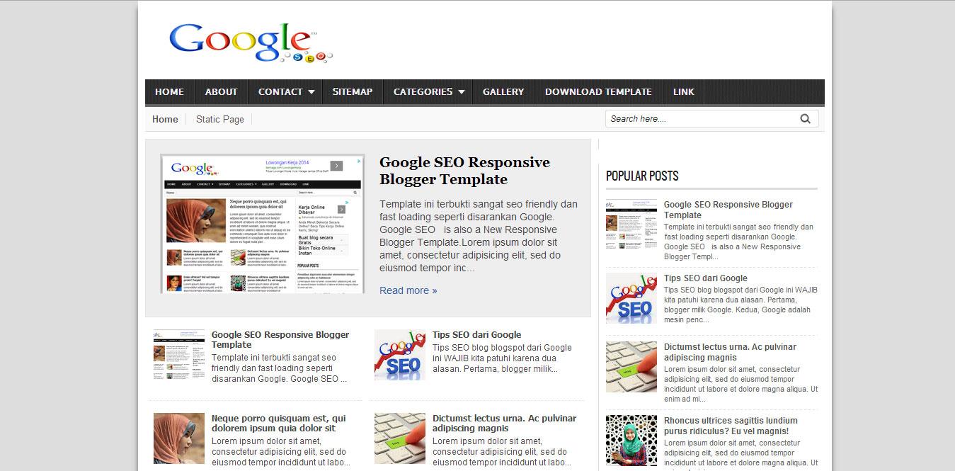 Google SEO Blogger Template