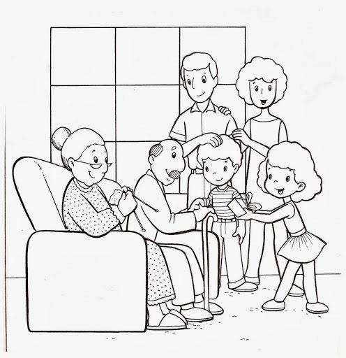 La familia extensa para colorear - Imagui