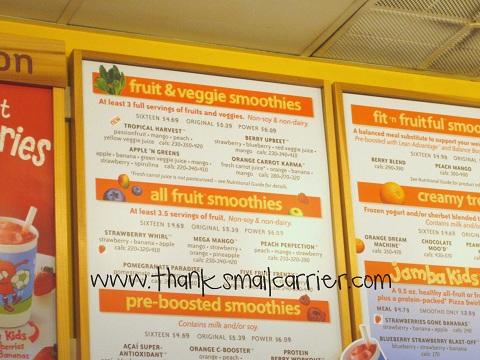 Jamba Juice menu