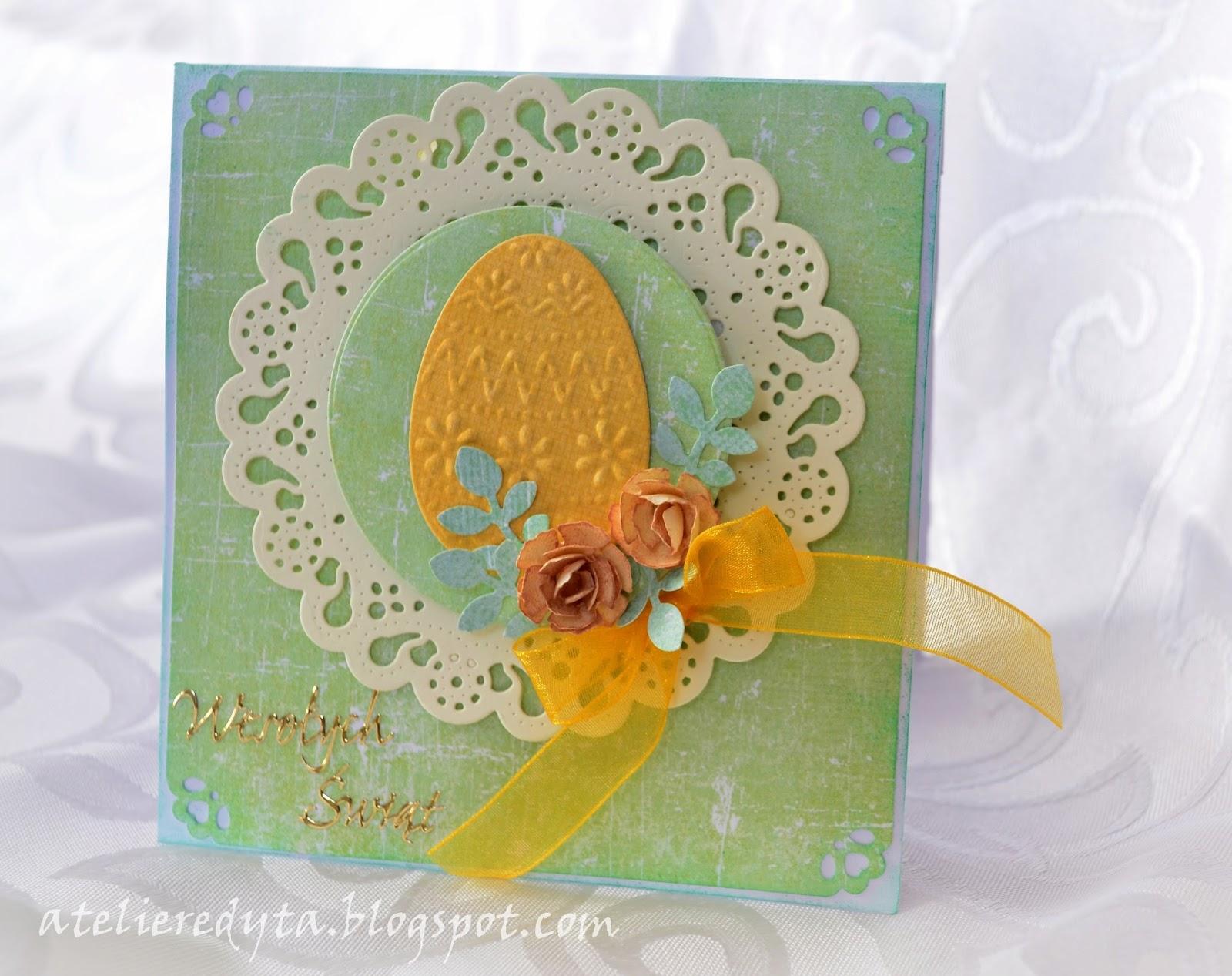 Ręcznie robiona kartka wielkanocna w pastelowych kolorach