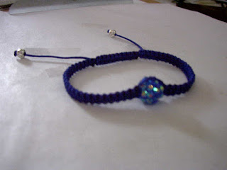 Pulseras Macrame azul con rhinestone blue 12mm