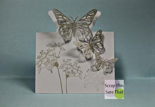 3D, Glitter, Butterflies, Card