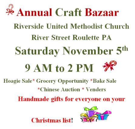 11-5 Annual Craft Bazaar Riverside UM Church