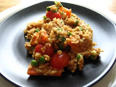 Miso Rice with Carrots, Peas and Grape Tomatoes