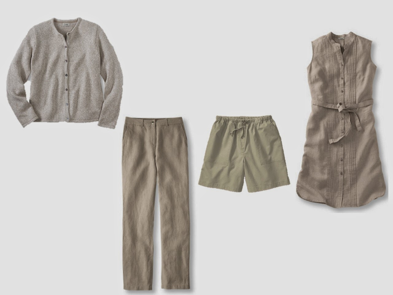 """casual """"suit equivalent"""": cardigan, pants, shorts and dress"""