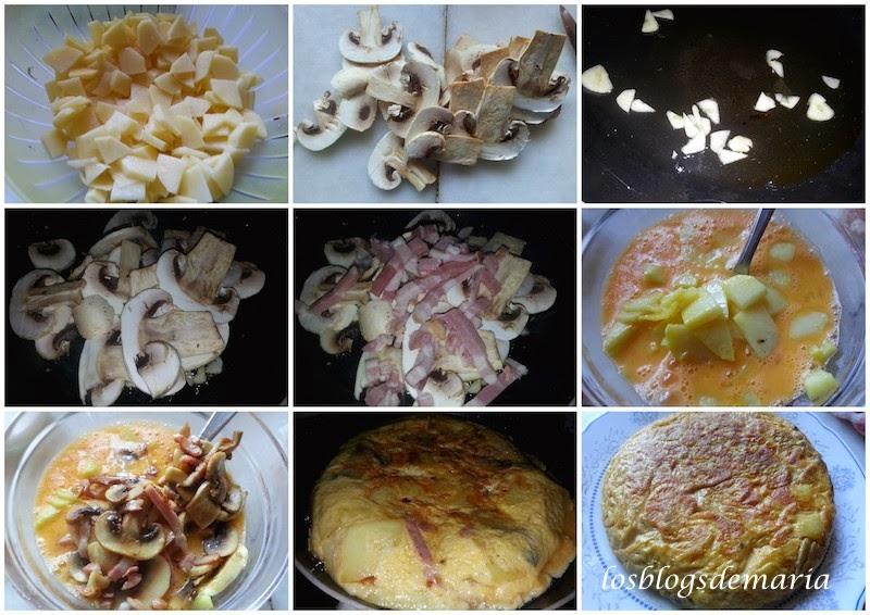 Tortilla de Champiñones y Bacon