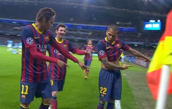 Neymar, Alves y Messi
