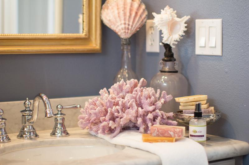 coral bathroom decor, moxxie natural soaps, san diego style