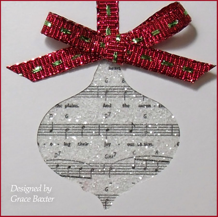 Musical ornament card, closeup