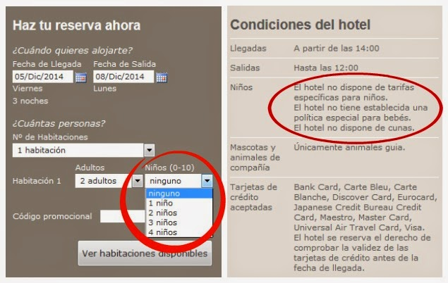condiciones hotel sin niños