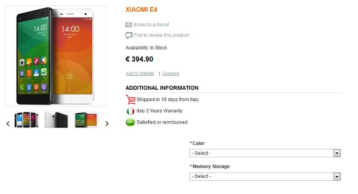 Xiaomi Mi4 Avrupa Ön Siparişi Başladı