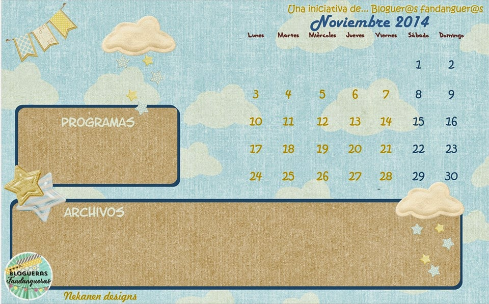 Fondo de escritorio calendario Noviembre nueve