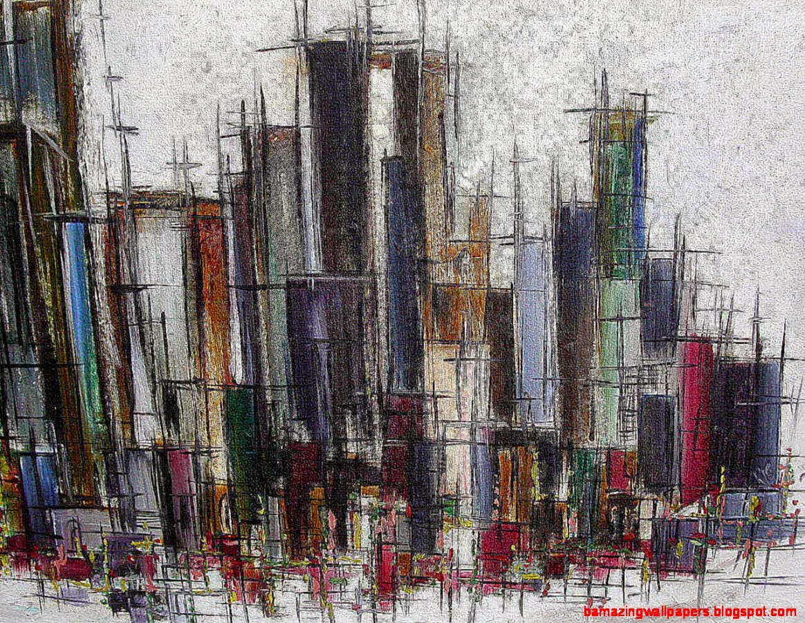 Original Vintage 60s Abstract City Scape Painting  Retro Squad