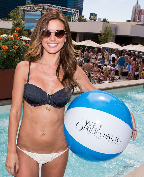 Audrina Patridge with blue and white Wet Republic beach ball in a bikini