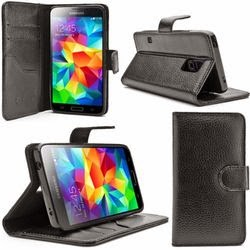 i-Blason Samsung Galaxy S5 Case - Slim Leather Wallet Book Cover with Stand Feature and Credit Card ID Holders (Samsung Galaxy S5, Black)