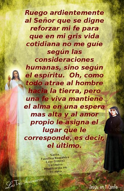 anotacion del diario la divina misericordia hecho por santa faustina  rogando a dios por fe
