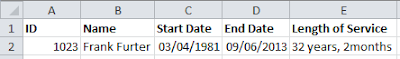 Calculate length of service using the DATEDIF function