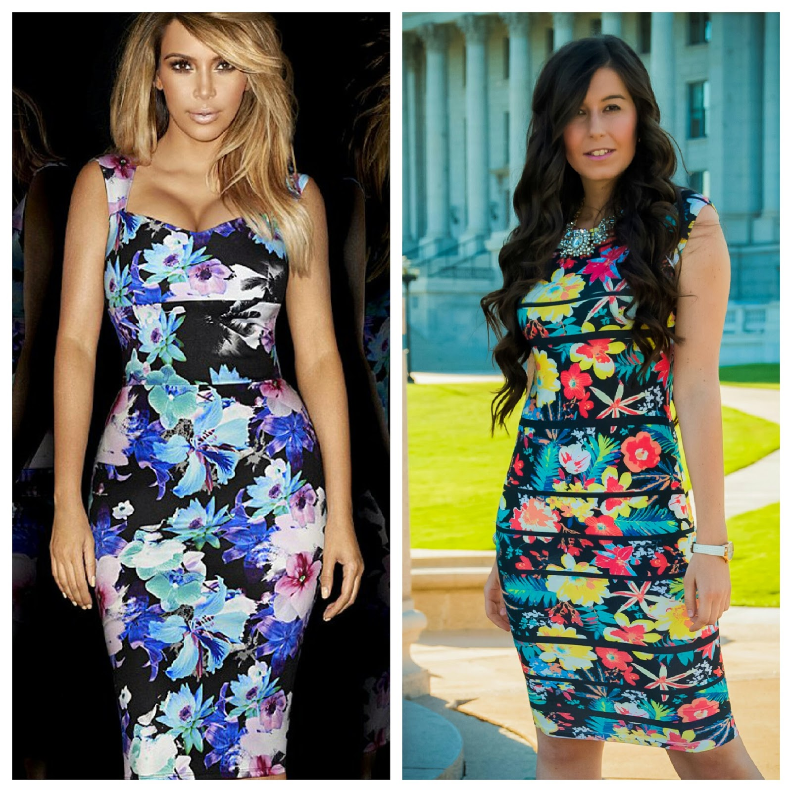 salt lake city, kim kardashian, kim kardashian look for less, kim kardashian inspired outfit, kim kardashian floral dress, salt lake city capitol, capitol building, floral bodycon dress, bodycon dress, floral dress, pink pumps, amiclubwear, klaus kobec, watch,