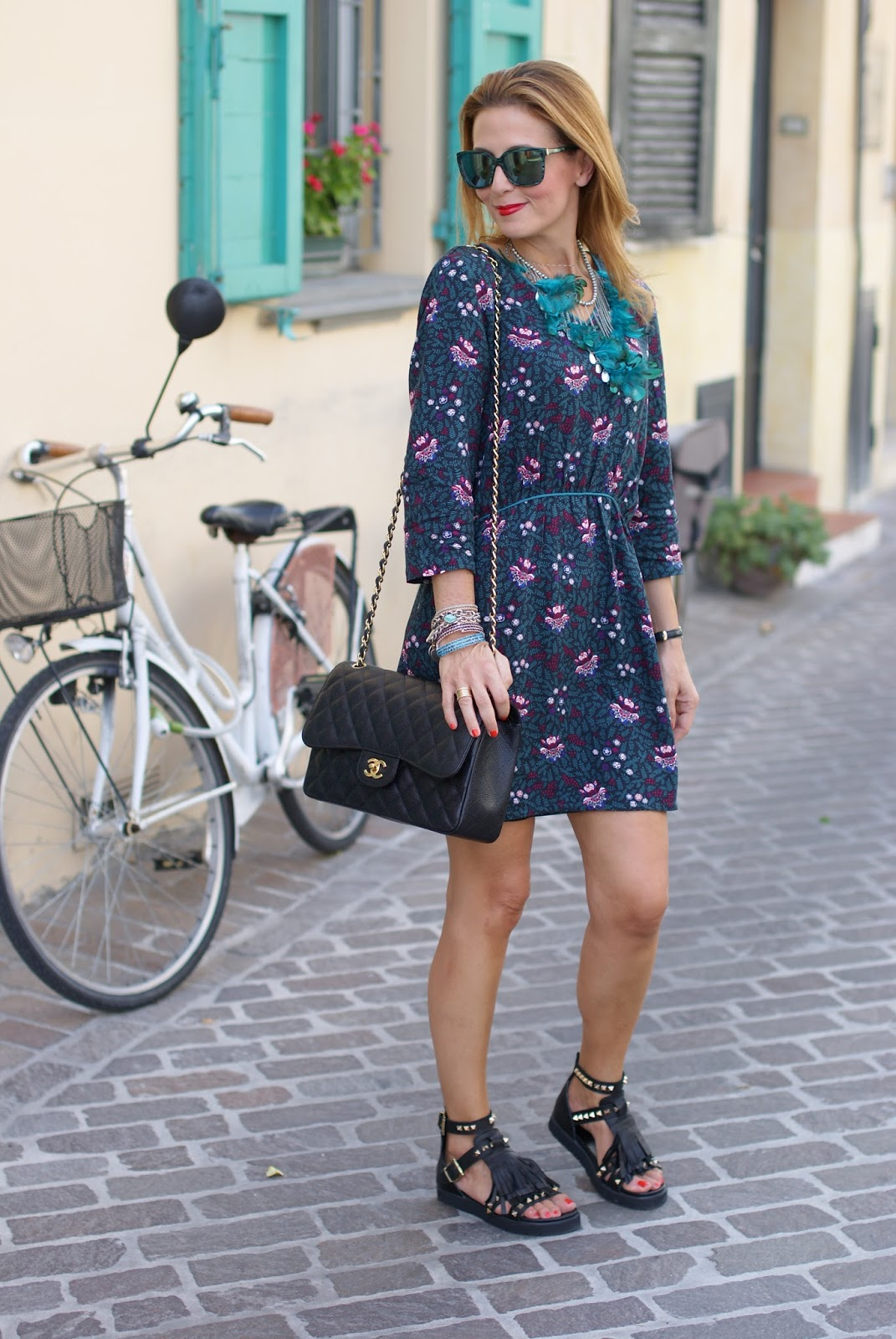 Paramita Magnolia dress worn with studded flat sandals on Fashion and Cookies fashion blog