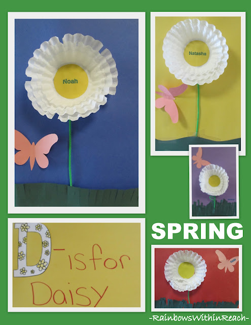 photo of: Tissue Paper Spring Flower Art Project Bulletin Board