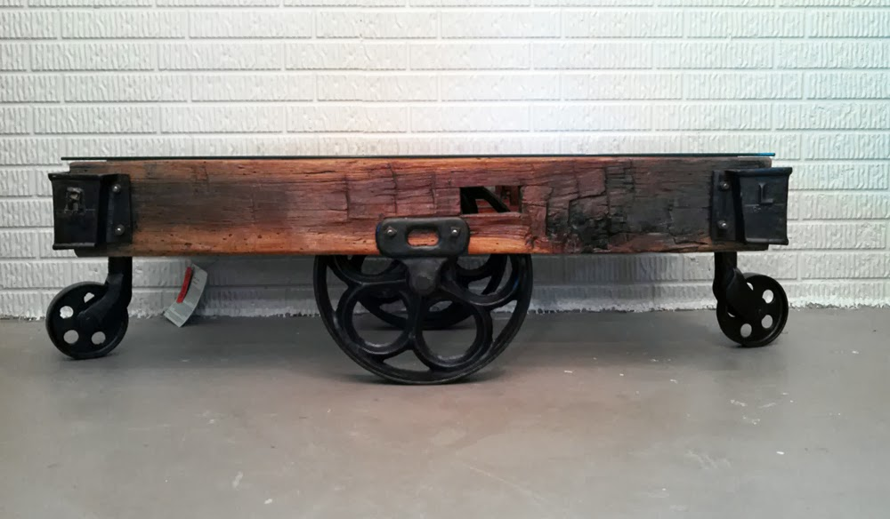 Timber art factory cart coffee table for Cart coffee table