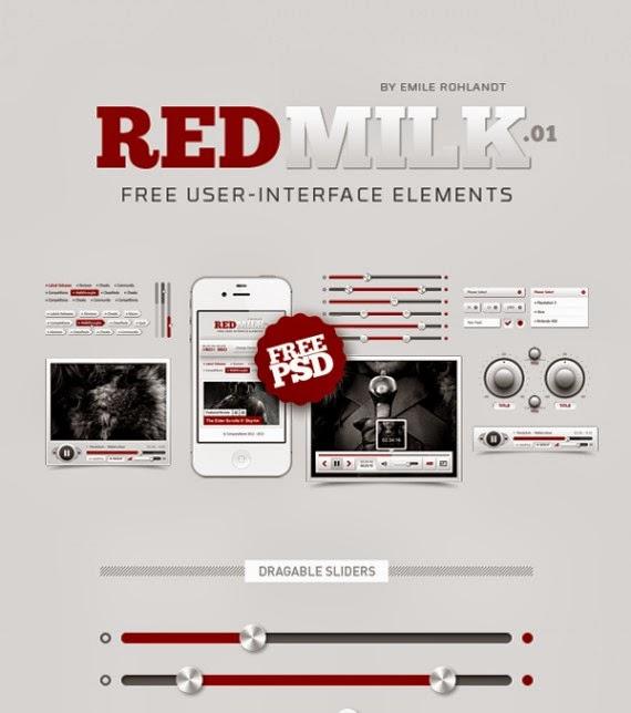 REDMILK FREE UI Elements (PSD)