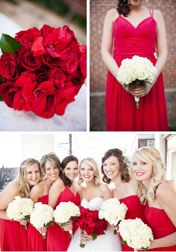 a vintage red theme wedding red bridesmaid dresses