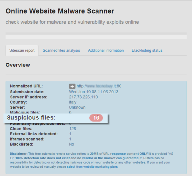 Quttera website malware scanner screenshot