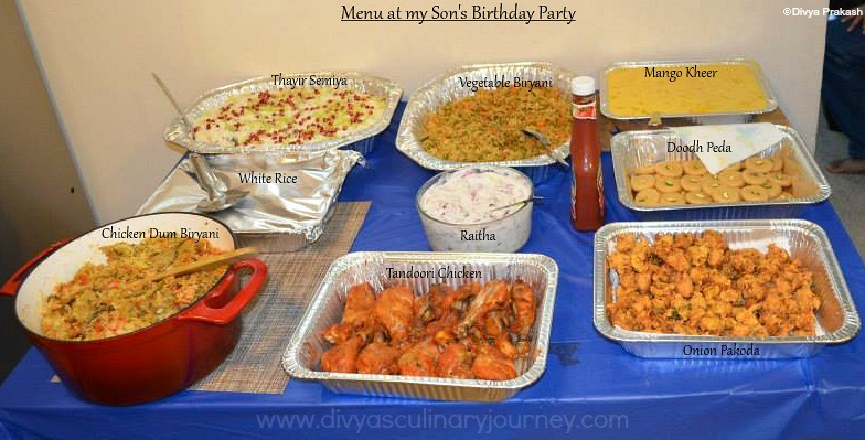 Divyas culinary journey My Sons Birthday Party Menu Indian Party